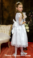 Lace First Communion Dress with Three Quarter Sleeves